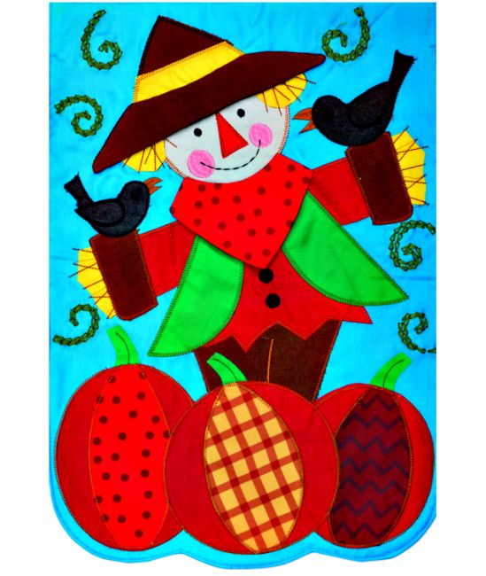 Scarecrow applique mini garden flag by custom decor inc for Custom decor inc
