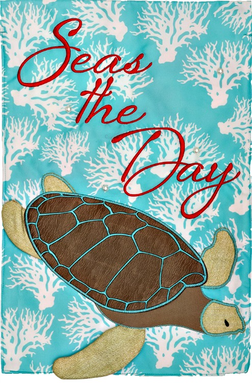 Seas the day turtle mini garden flag by custom decor inc for Custom decor inc