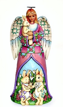 Signs of Spring Easter Angel with Bunnies Figurine