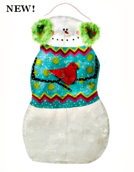 Snowman with Ear Muffs Door Hanger