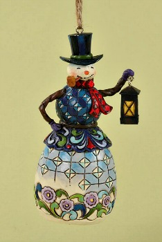 Snowman with Lantern Hanging Ornament