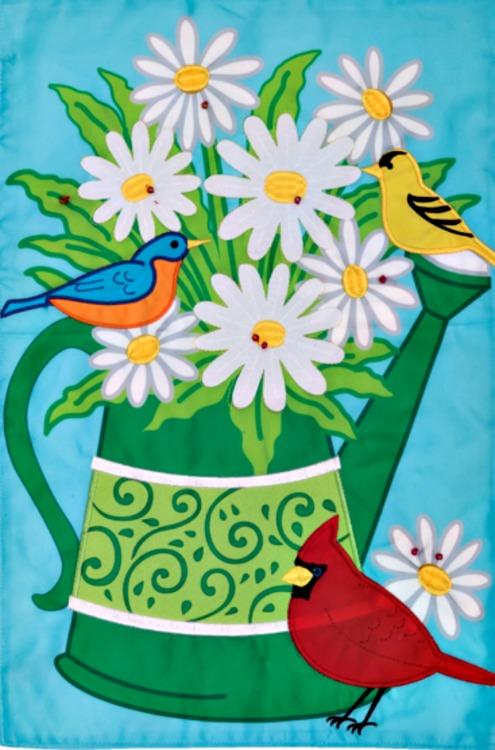 Songbirds watering can applique mini garden flag by custom for Custom decor inc