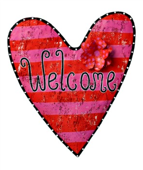 Striped Welcome Heart Door Hanger