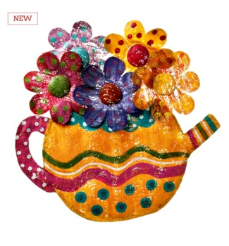 Teapot with Flowers Door Hanger