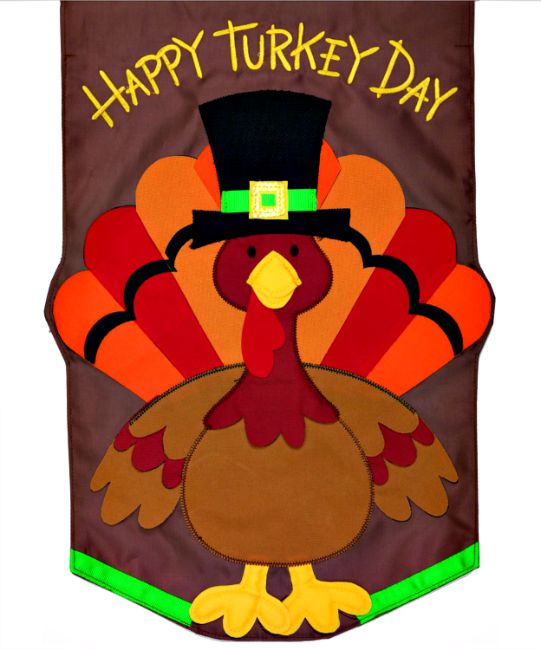 Happy turkey day applique mini garden flag by custom decor for Custom decor inc