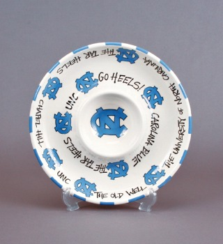 UNC Ceramic Chip & Dip Circle Plate