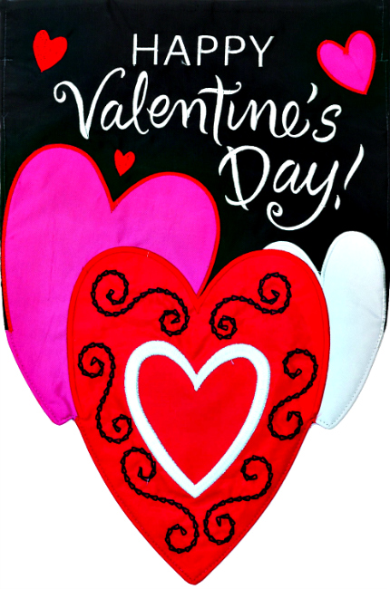 Valentine 39 s day hearts applique mini garden flag by custom for Custom decor inc