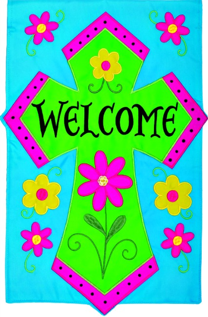 Welcome cross applique mini garden flag by custom decor inc for Custom decor inc