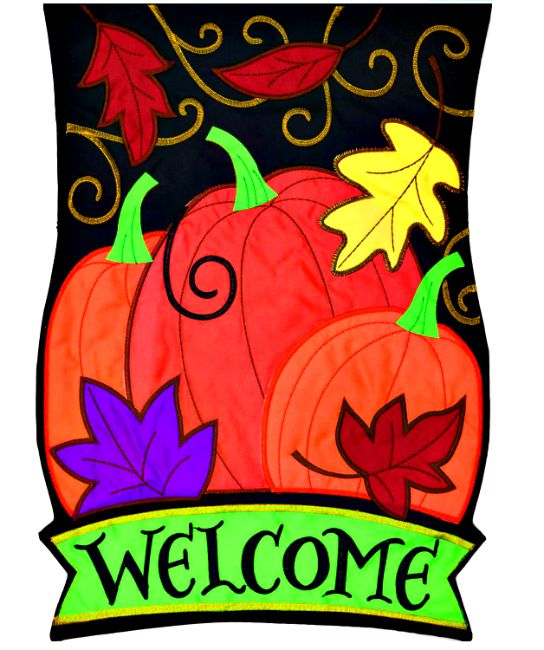 Welcome pumpkin applique mini garden flag by custom decor for Custom decor inc