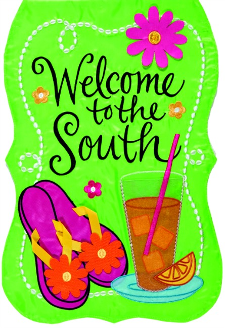 Welcome to the south applique mini garden flag by custom for Custom decor inc