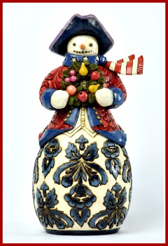 Herald the Holiday Williamsburg Damask Snowman Figurine **SOLD OUT**