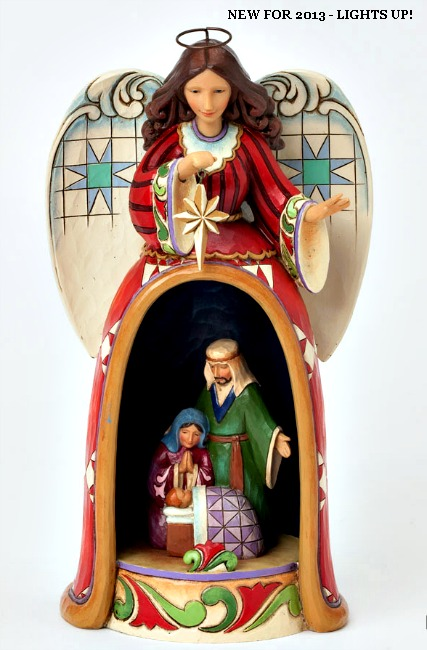 Angel Figurine with Lighted Holy Family Scene**SOLD OUT**