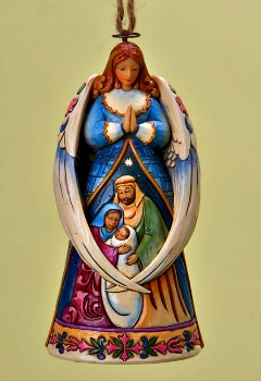 Angel with Wings Around Holy Family Hanging Ornament