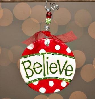 Believe with Polka Dots Flat Ornament **SOLD OUT**