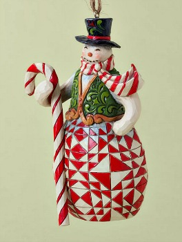 Red and Green Candy Cane Snowman Hanging Ornament **Sold Out**