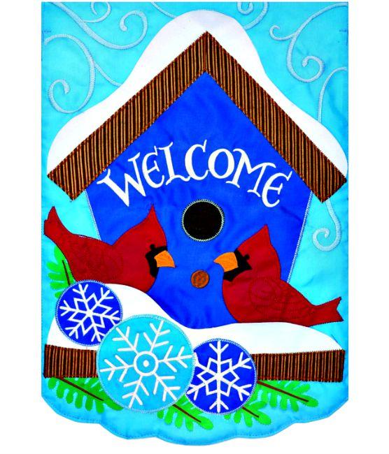 Cardinal Winter Applique Mini Garden Flag**NEW**