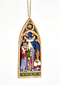 Cathedral Window Nativity Ornament by Jim Shore Heartwood Creek **SOLD OUT**
