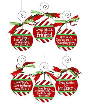 Dear Santa Wooden Ornaments