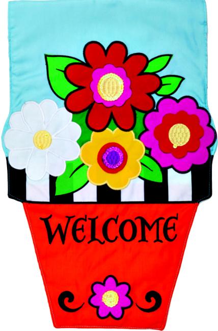 Flower Pot Applique Mini Garden Flag **NEW**