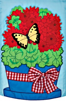 Geranium Butterfly Applique Mini Garden Flag **NEW-COMING SOON**
