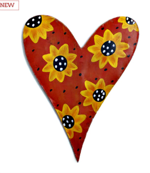 Heart with Sun Flowers Door Hanger **SOLD OUT**