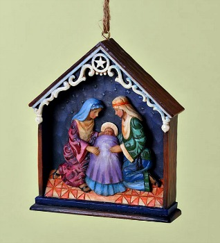 Holy Family in Stable Hanging Ornament