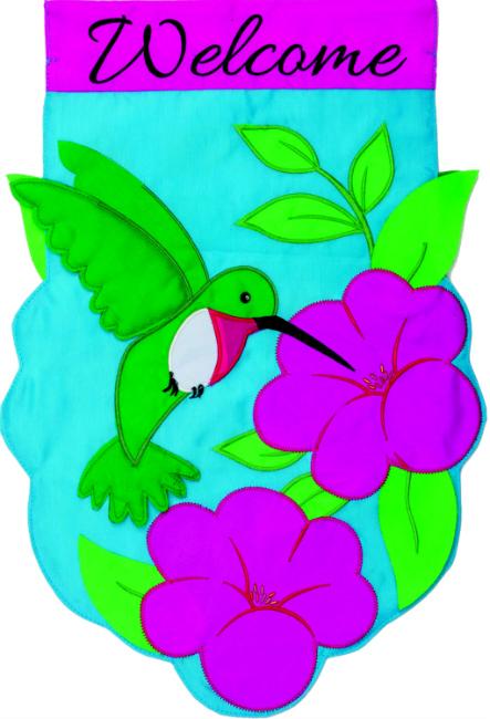 Hummingbird Applique Mini Garden Flag **NEW**