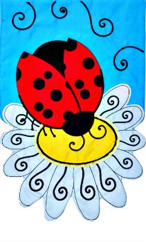 Ladybug Daisy Applique Mini Garden Flag **NEW**