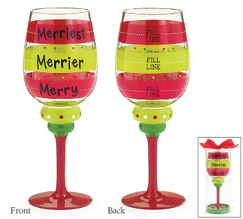 Merry Merrier Merriest Wine Glass **SOLD OUT**