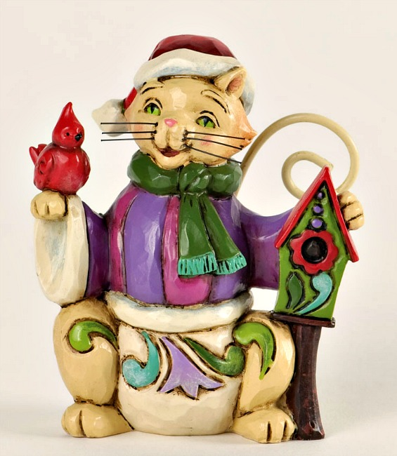 Miniature Christmas Cat with Bird Figurine by Jim Shore Heartwood Creek*SOLD OUT*