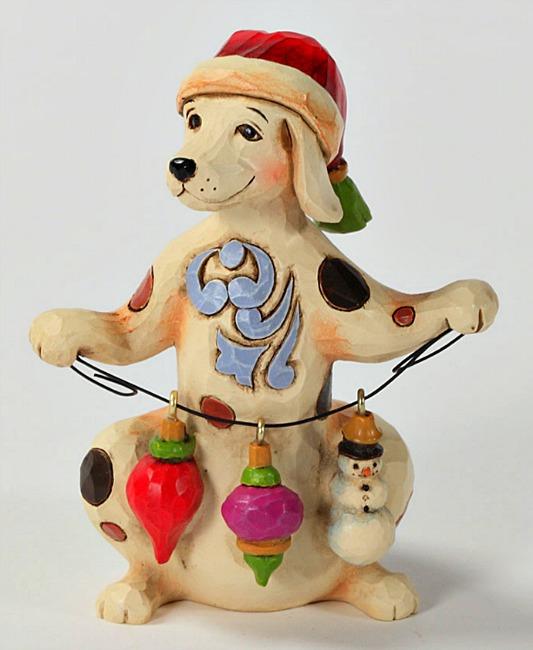 Miniature Christmas Dog Figurine