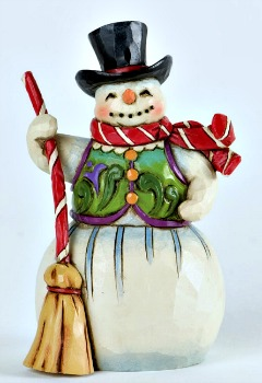 Miniature Snowman with Broom Figurine **SOLD OUT**