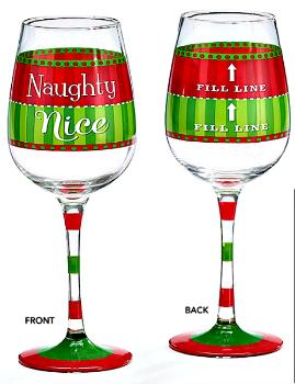 Naughty Nice Fill Line Christmas Wine Glass by Burton & Burton