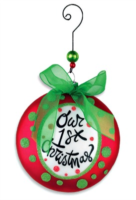 Our 1st Christmas Glass Disk Ornament
