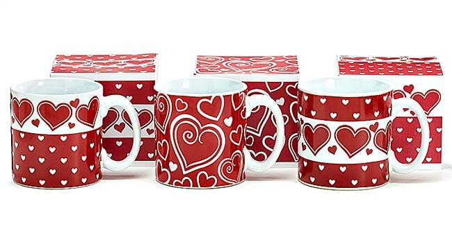 Red & White Hearts Mug by Burton & Burton