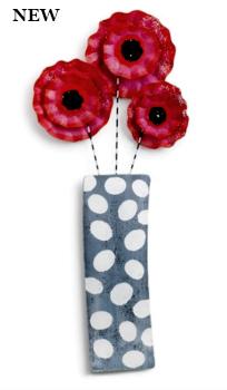 Ruffled Flowers in Vase Door Hanger **NEW - SOLD OUT**