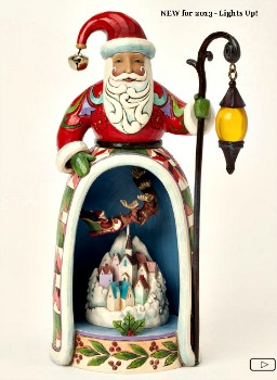 Santa Figurine with Lighted Village Scene **SOLD OUT**
