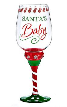 Santa's Baby Christmas Wine Glass by Burton & Burton