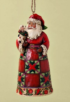 Santa with Puppy Hanging Ornament **SOLD OUT**