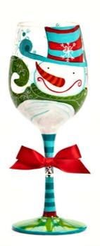 Mr. Snowman Wine Glass