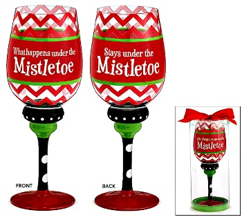 What Happens Under the Mistletoe Wine Glass **SOLD OUT**
